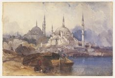 The Yeni Valide Camii and the Süleymaniye Mosque, with the Golden Horn in the forground, 1800's