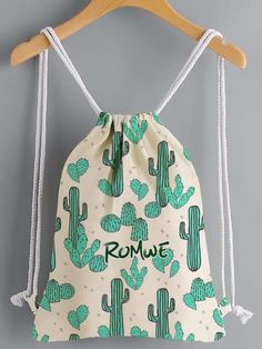 Shop Cactus Print Drawstring Canvas Backpack at ROMWE, discover more fashion styles online. Backpack Tutorial, Cactus Print, Cactus Cactus, Bead Loom Bracelets, String Bag, Fabric Bags, Canvas Backpack, Zipper Bags, Handmade Bags