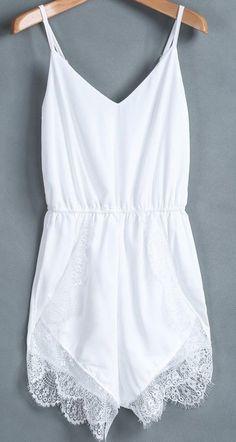 white lace underlay romper