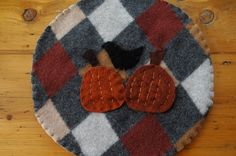 Wool trivet - Bird and pumpkins by LittleWool on Etsy