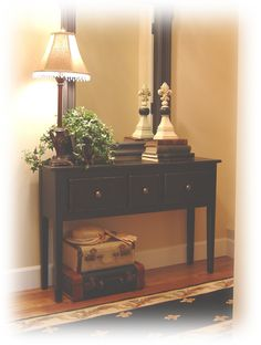Notes From A Cottage Industry: New Old Entry Table: Hall And Foyer Furniture, Small Foyer Furniture, Entryway Storage Bench Furniture