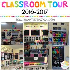 Classroom Tour 2016-2017 Black and Brights/Chalkboard Rainbow Theme!
