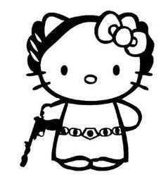 Hello Kitty Princess Leia Vinyl Decal
