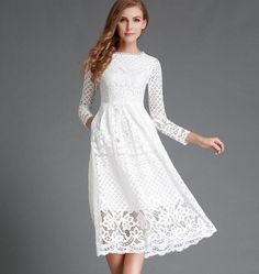 New European 2016 Spring Women's Lace Hollow Out Long Dresses Bohemian Femme Casual Clothing Women Sexy Slim Party Dress Vestido