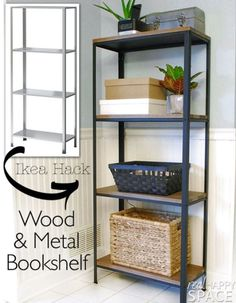 Best IKEA Hacks and DIY Hack Ideas for Furniture Projects and Home Decor from IKEA - Wood and Metal Bookshelf - Creative IKEA Hack Tutorials for DIY Platform Bed, Desk, Vanity, Dresser, Coffee Table, Storage and Kitchen, Bedroom and Bathroom Decor http://diyjoy.com/best-ikea-hacks