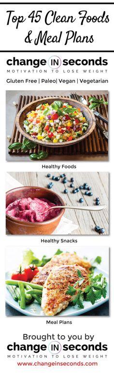 Top 45 Healthy Clean Foods, Snacks & Meal Plans https://www.changeinseconds.com/shop/food/ #cleaneating #glutenfree #paleo #vegan