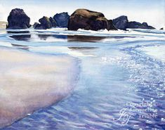 Fine art print of a gorgeous watercolor landscape painting of the Oregon Coast by JacquelineTribble. Pacific ocean, Highway 101, Pistol River State Park, glittering ocean, tidal pools, Oregon rocky coast.
