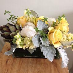 #fresh #oregano, #romantic #white #peonies, #yellow #roses, #soft #feminine #stock, #dustymiller, #wild #grass and a #hearty #artichoke to