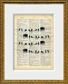 SONGBIRDS ON A WIRE recycled book page art by AnamnesisPrints, $9.99