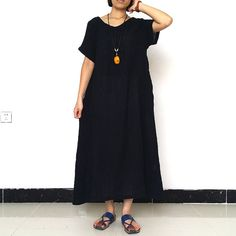 Women Maxi Dress Loose Fitting Linen Dress short sleeve dress summer dress