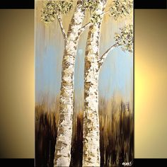 Birch Tree Painting by Osnat Tzadok. love the colors