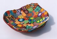polymer clay bowls | polymer clay bowl | Bowls - good for left over canes?
