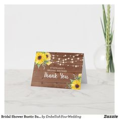 Bridal Shower Rustic Sunflower Lights Thank You Bridal Shower Rustic, Custom Thank You Cards, Zazzle Invitations, Your Cards, Create Your Own, Place Card Holders, Lights, Prints, Things To Sell