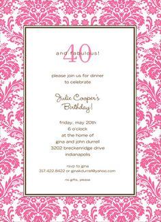 Pink Damask Border Invitations #pink