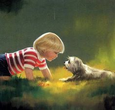 """Making Friends"", by American artist - Donald Zolan (1937-2009), Oil."