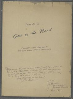"Manuscript of 'Gone on the Road' written by Jack Kerouac in 1950, a precursor of ""On the Road"""