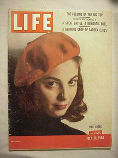 """Life Magazine cover, """"Pier Angeli's doe eyes and elfin features are captured in Phillipe Halsman's portrait of the young Italian actress"""", July 1956 Look Magazine, Time Magazine, Magazine Covers, Philippe Halsman, Life Cover, Italian Actress, Camping Gifts, Norman Rockwell, Vintage Comics"""