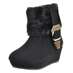 Kids Boots Girls Toddler Youth Fur Cuff Ankle Wedge Booties w// Buckle Accent