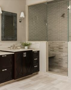 Jill Litner Kaplan Interiors - bathrooms - Benjamin Moore - Silver Fox - natural stone, greige tile, greige tiled shower surround,