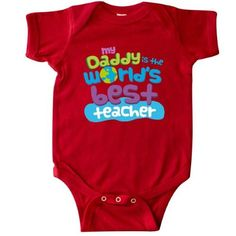 Inktastic Daddy Worlds Best Teacher Infant Creeper Baby Bodysuit Greatest Dad Childs Childrens Cute Gift Fathers Day One-piece Hws, Boy's, Size: 6 Months, Red