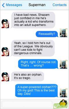 Texts From Superheroes Batman Meme, Marvel Jokes, Batman And Superman, Marvel Funny, Marvel Dc Comics, Batman Facts, Dark Comics, Batman Stuff, Justice League Funny