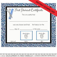 first haircut certificate cheetah baby first haircut photo certificate instant download psd file