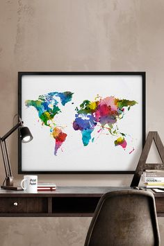 Hey, I found this really awesome Etsy listing at https://www.etsy.com/listing/227698927/colorful-watercolor-world-map-art-print