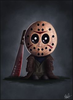 Adorable Jason Voorhees from Friday the . halloween crafts for kids Horror Cartoon, Horror Icons, Cartoon Art, Horror Movie Characters, Horror Movies, Happy Friday The 13th, Horror Artwork, Jason Voorhees, Arte Horror
