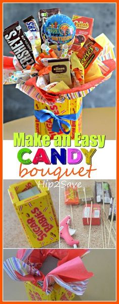 Diy candy bouquet fun easy gift idea this is is a wonderful gift to give to someone who loves sweets whether it s for graduation teacher appreciation or on valentine s day this is a gift that will bring a smile to their face Sweet 16 Gifts, Easy Gifts, Creative Gifts, Homemade Gifts, Homemade Birthday Gifts, Diy Gifts In A Box, Mom Gifts, Kids Gifts, Teacher Appreciation Gifts
