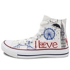 a4f0260d9e1f Converse All Star London Landmarks Hand painted High Top Unique Canvas  Shoes for Women Men Converse