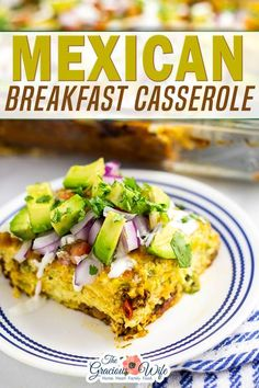 Mexican Breakfast Casserole is an overnight breakfast casserole, packed with flavor from salty, juicy chorizo, creamy eggs, and gooey cheese! Topped with fresh pico de gallo and avocado, it makes an amazing breakfast. Grab the recipe and create your own amazing Mexican Breakfast Casserole too! | The Gracious Wife @thegraciouswife #mexicanbreakfastcasserole #mexicanbreakfast #overnightcasserole #easybreakfastrecipes #breakfastrecipeideas #holidaybreakfast #breakfastcasserole #thegraciouswife