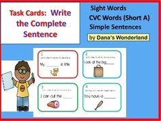 This product contains 24 cards that require the students to complete and write simple sentences.Each card features the picture of a CVC word with the short vowel a and  a sentence with a blank.The student has to sound out the word and write the complete sentence.Example:Card:The _____ is little. (picture of a cat)Student: The cat is little.Included:24 task cardsanswer sheeta rubric to keep track of the cards completeda sheet for writing the sentencesHappy Teaching!Dana's Wonderland