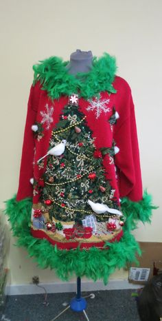 2 Turtle Doves and a Pear in a Christmas Tree Tacky Ugly Christmas Sweater  Mini Dress Light UP Snowflake Feathers size 22 24 XL XXL