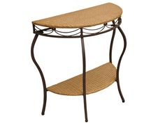 Valencia Resin Wicker and Steel Half Moon Table.