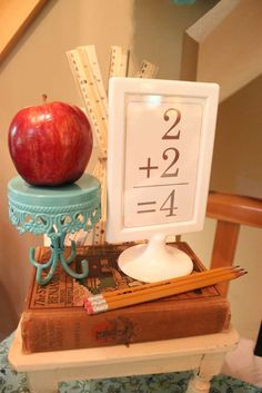 thepartyporch's Baby Shower / Vintage Schoolhouse - Photo Gallery at Catch My Party Back To School Gifts For Kids, Back To School Party, Back To School Crafts, School Parties, Apple Decorations, School Decorations, School Themes, September Decorations, School Ideas