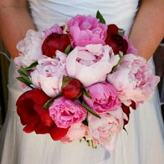 Pretty pink and red peony bouquet