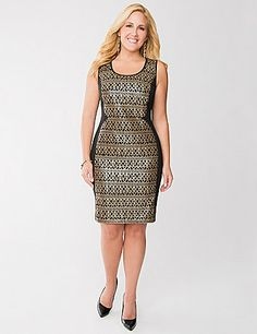 Shimmering sequins highlight every sexy curve in this sophisticated sheath dress. A glitzy number for any occasion, this sleeveless sheath turns heads with its figure-flattering, contoured knit and scoop neckline. Hidden zipper closure. lanebryant.com