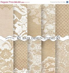 ON SALE LACE Digital Wedding Paper, 12x12 printable paper-Kraft and Lace Wedding Invitations, Kraft Scrapbooking Paper, Lace Baby Shower Pap by BaerDesignStudio on Etsy https://www.etsy.com/listing/173351992/on-sale-lace-digital-wedding-paper-12x12