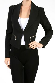 This super cute jacket will make you look professional at work and chic at night. Perfectly designed to highlight your shape with fine details like front and back zippers and fully lined. Available in burgundy. Look your best.