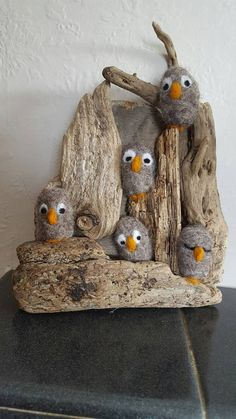 Cute Needle Felted Owls on Driftwood