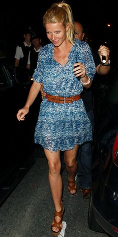 Gwyneth Paltrow  WHAT SHE WORE  Paltrow helped launch Beyonce's new album in an silk chiffon Isabel Marant tunic and crisscross Givenchy sandals.