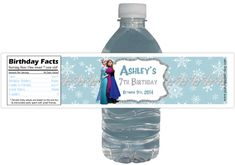 Winter Wonderland Frozen Party 15ct Waterproof Bottle Labels Customized Birthday Party
