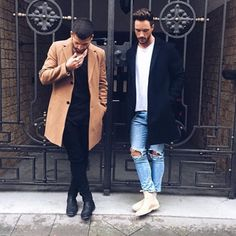Camel coat and navy coat