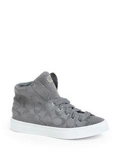 COACH Renee Logo Stamped High Top Suede Sneaker, Grey