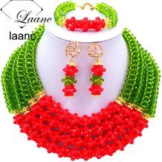 Find More Jewelry Sets Information about Brand Laanc 18inches Nigerian Wedding African Beads Jewelry Set Crystal Olive Red Costume Necklace AL157,High Quality Jewelry Sets from laanc african beads Store on Aliexpress.com