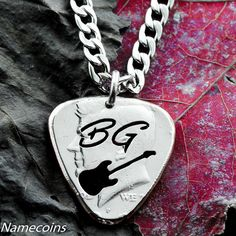 Guitar Pick necklace with Thin Cursive Initials Cut Half Dollar Music Jewelry, Coin Jewelry, Guitar Pick Necklace, Dog Tag Necklace, Custom Guitar Picks, Custom Coins, Coin Art, Half Dollar, Silver Coins