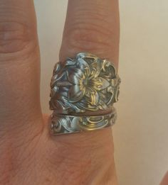 Etremely Art Nouveau Sterling Silver Turumpeting Lily Floral Spoon Ring by Fessenden, Handmade Gift for Her, Custom Ring Size (3408) by Spoonier on Etsy
