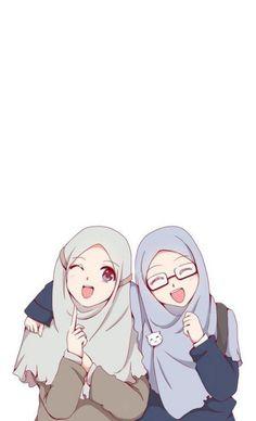 Beautiful,Pretty cute,friendship anime muslimah en 2019 anime muslim, hijab d Cute Cartoon Girl, Anime Girl Cute, Anime Art Girl, Cartoon Art, Cartoon Design, Wallpaper Hp, Islamic Wallpaper, Friend Anime, Anime Best Friends