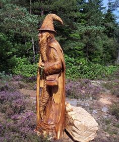 Cragside Wizared - A Carving Created Using a Chainsaw, by Tree Sculptor Tommy Craggs