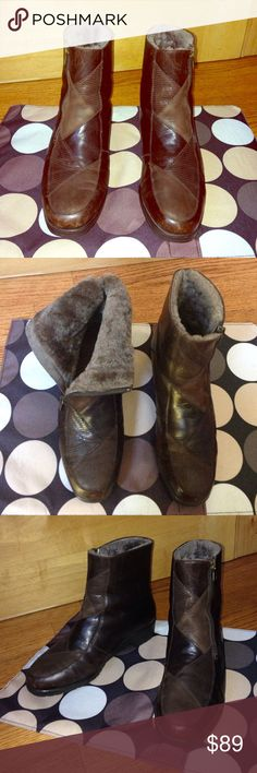 """DR. MARTENS Leather Patchwork Zip-Up BOOTS EUC 9 DR. MARTENS Brown Leather Patchwork Zip-Up 1.5"""" Heel ANKLE BOOTS EUC 9 •DETAILS: *Fully Lined w/ Faux Fur for Warmth. •MEASUREMENTS: *Insole Length- 10.5""""; Outsole Width- 3 and 7/8""""; Heel- 1.5""""  **SMOKE-FREE AND PET-FREE HOME!** Dr. Martens Shoes Ankle Boots & Booties"""